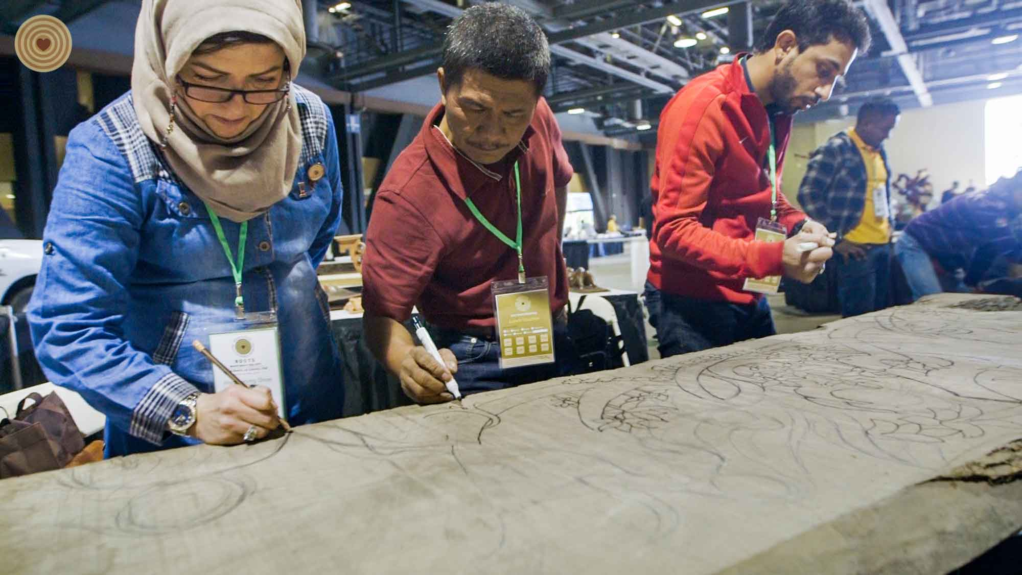group discussion, wood carving